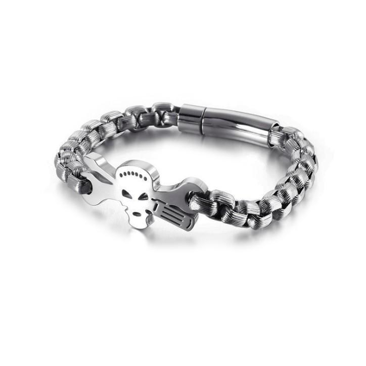 skull charm mens bracelet