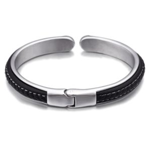 stainless steel leathers bangle for men