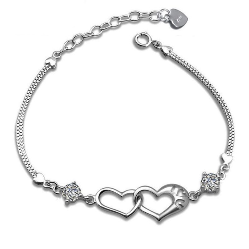 cz heart charm silver bracelet