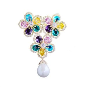 flowers crystal diamonds jewelry brooches wholesale from china factory