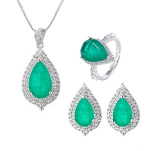 cz emerald necklace earring set wholesales from China jewelry factory