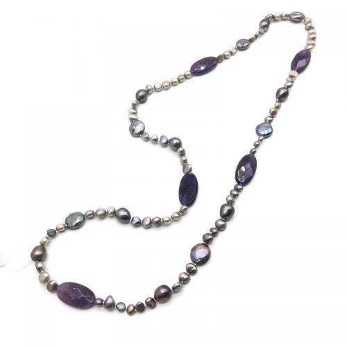 amethyst gemstone pearl necklace
