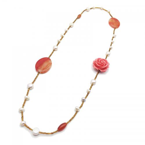 red agate gemstone pearl necklace